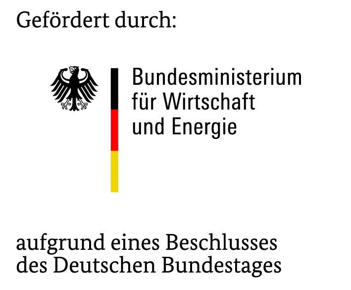 Hier ist das Logo des Bundesministeriums für Wirtschaft und Energie zu sehen. Der Schriftzug ist schwarz mit einer Deutschlandfahne und einem Adler.