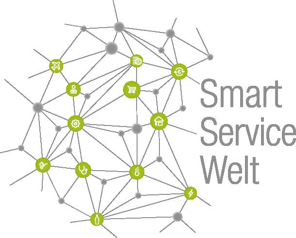 Hier ist das Logo der Smart Service Welt. Es ist ein Netzwerk mit grünen Kreisen.