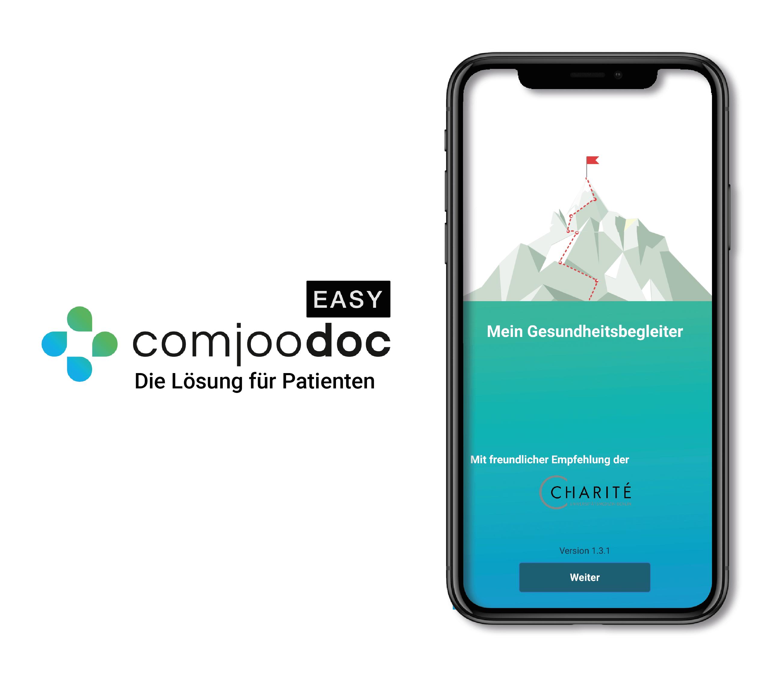 """Hier sind zwei Handys abgebildet, auf denen Screenshots von comjoodoc EASY zu sehen sind. Daneben steht der Schriftzug: """"comjoodoc EASY - connecting medical experts"""" mit dem Startbildschirm von comjoodoc EASY"""